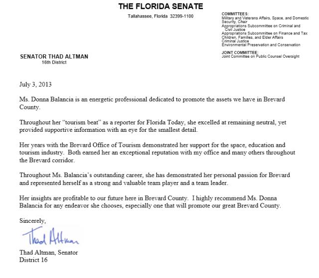 Senator Thad Altman recommends Balance Marketing's Donna Balancia