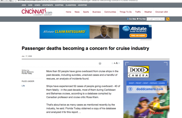 Cruise Industry concerns