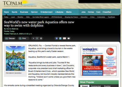 Aquatica opens Mar 1, 2008 by DONNA BALANCIA