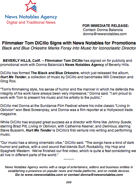 Tom DiCillo signs with Donna Balancia's News Notables of Beverly Hills